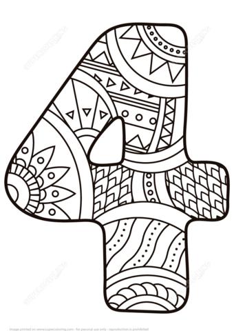 Número 4 Zentangle Dibujo para colorear. Categorías: Números ...