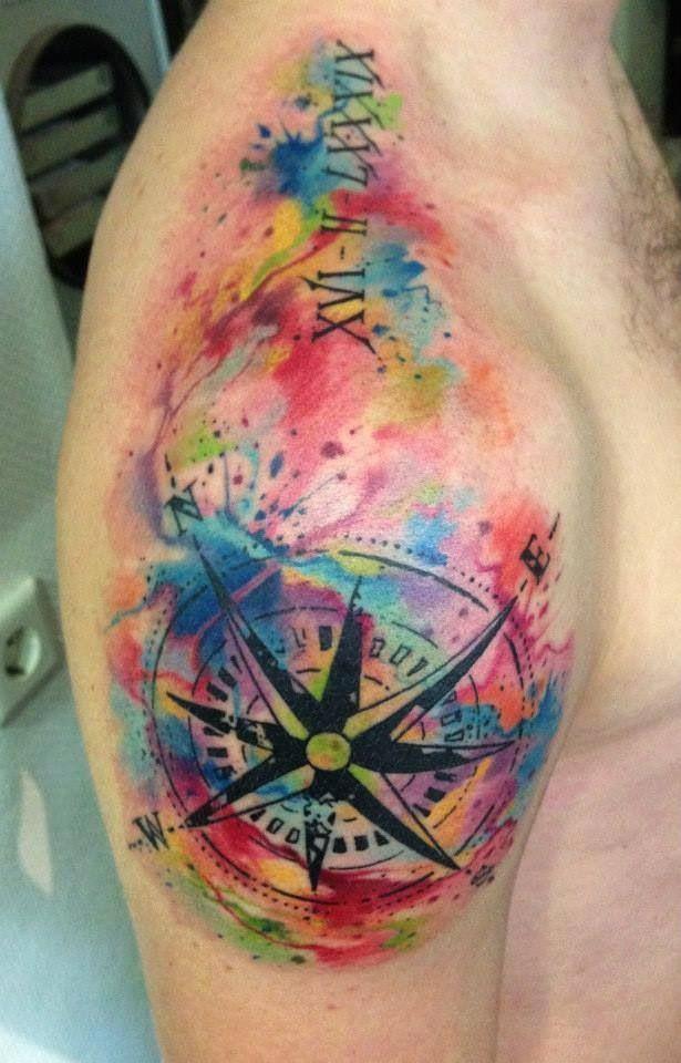 62bdb1dce2486 75 STRIKING WATERCOLOR TATTOO INSPIRATIONS | Tattoos | Compass ...