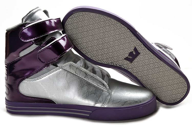 2013 Supra TK Society Men Sliver Purple Leather Shoes