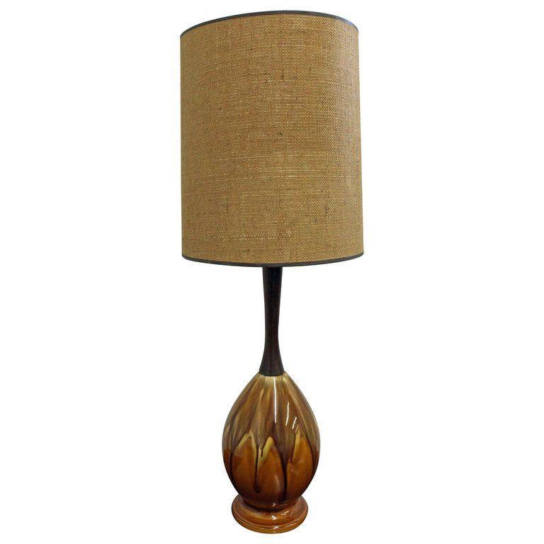 Mid Century Lamp Danish Modern Drip Glaze Ceramic Walnut Table Etsy Mid Century Modern Table Lamps Mid Century Lamp Mid Century Modern Lamps