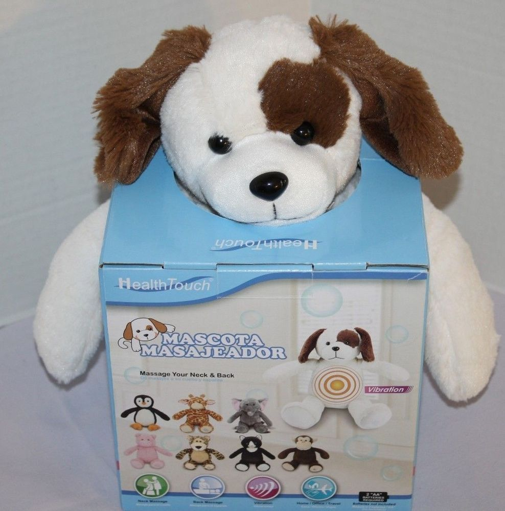 Health Touch Huggable Massager Soft Puppy Dog 14 Neck Pillow