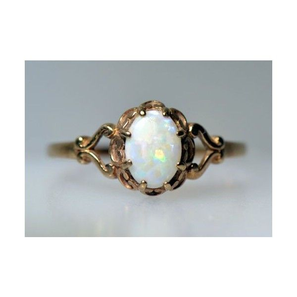 Estate Vintage Australian Opal Ring Yellow Gold Natural Oval Old Deco Liked On Polyvore Featuring Jewelry Rings V Opal Ring Vintage Jewelry Opal Jewelry