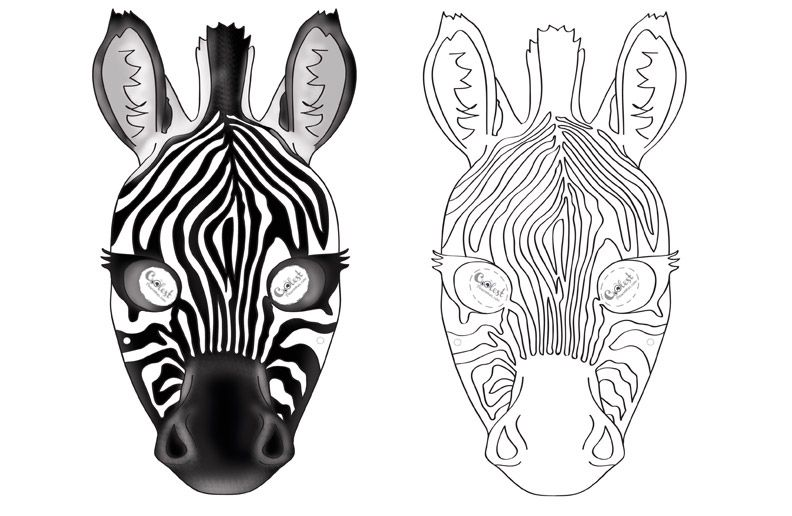 Printable Zebra Mask Zebra Mask Printable Animal Masks Animal Mask Templates