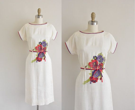 50s dress / white large floral print dress / by simplicityisbliss, $88.00