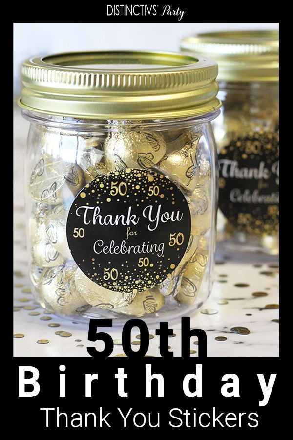 Black and Gold 50th Birthday Thank You Stickers - 40 Labels