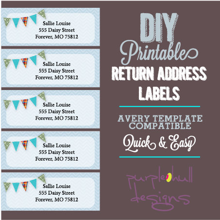 Pennant Banner Bunting Return Address Labels, Avery Template, DIY