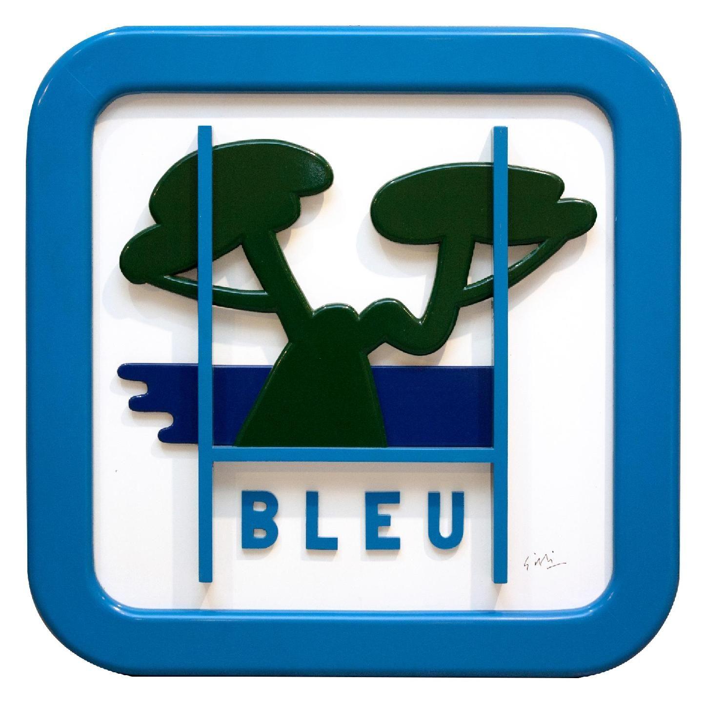 Vente dimanche 28 février 2016 par Cannes Enchères à Cannes : Claude GILLI (1938-2015) Panneau de signalisation bleu. Tableau-sculpture en bois découpé peint. Signé en bas à droite. 97 x 97 cm. Est. 3 000 - 4 000 euros.