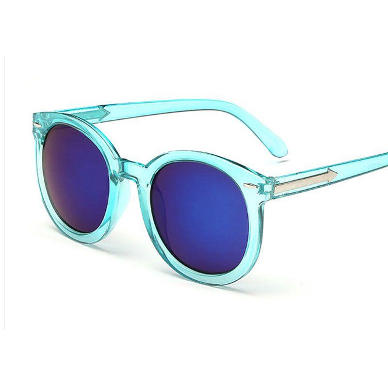 16 colori delle signore Del Progettista occhiali da sole Rotondi Donne Multicolor occhiali da sole A Specchio Stile Vintage Femminile oculos occhiali da sole per le donne