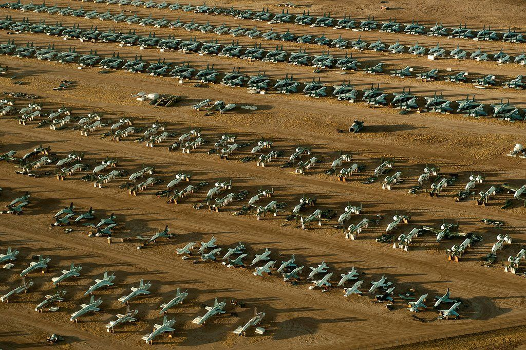 There is little rust and metal detrioration in the arid Arizona desert, making it the perfect place for the Air Force's only aircraft 'boneyard.' (Photo by Bennie Davis via U.S. Air Force)  via @AOL_Lifestyle Read more: https://www.aol.com/article/news/2017/01/17/welcome-to-the-boneyard-where-us-air-force-birds-go-to-die/21656747/?a_dgi=aolshare_pinterest#fullscreen