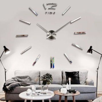 3d diy horloge murale moderne pendule pour d coration for Horloge originale salon