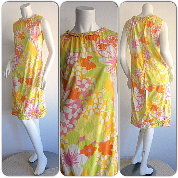 43a7ec0ebb3 1960s The Lilly Vintage Lilly Pulitzer Mod A-Line Dress   Retro Colorful  Flower Dress   Boho Chic Space Age Cotton 60s Shift Dress Lily