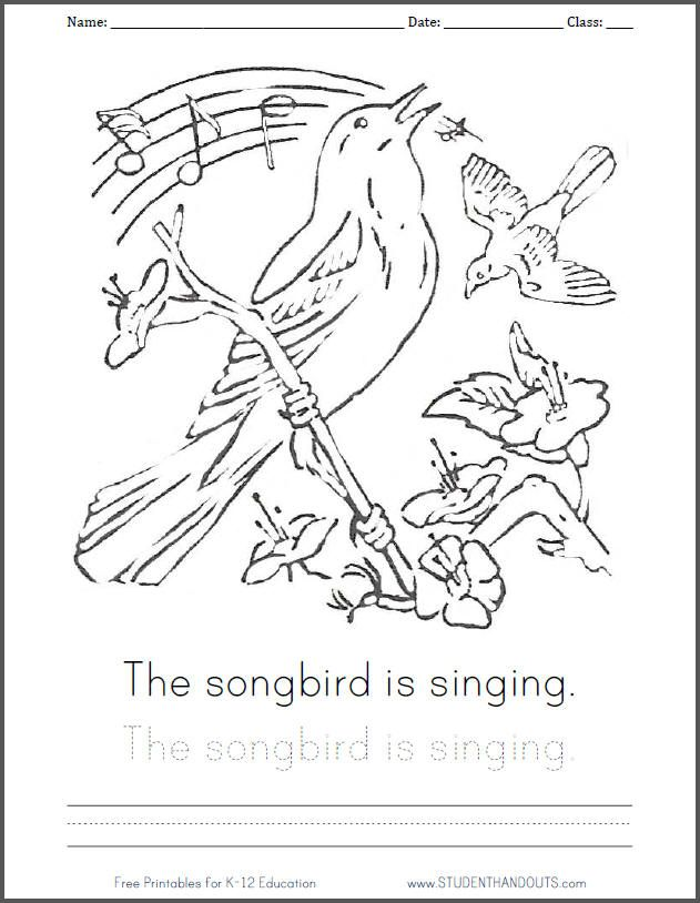 Singing Songbird Coloring Page With Handwriting Practice