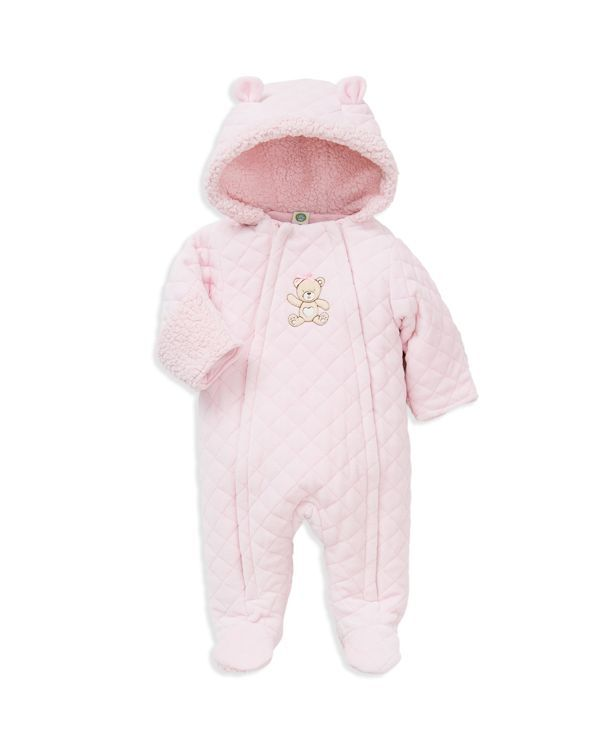 70e24d87a46a Little Me Infant Girls  Diamond Quilted Velour Bear Pram Suit ...