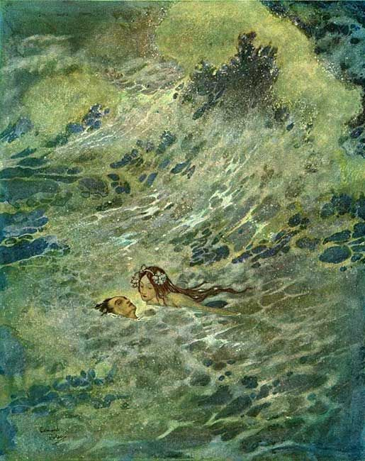 """""""He must have died if the little mermaid had not come to his rescue,"""" illustration by Edmund Dulac for 'The Little Mermaid.'"""