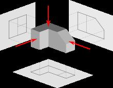 Las Tres Proyecciones Ortogonales Principales Frontal Superior Y Lateral Alzado Planta Y Tecnicas De Dibujo Proyecciones Ortogonales Vistas Dibujo Tecnico