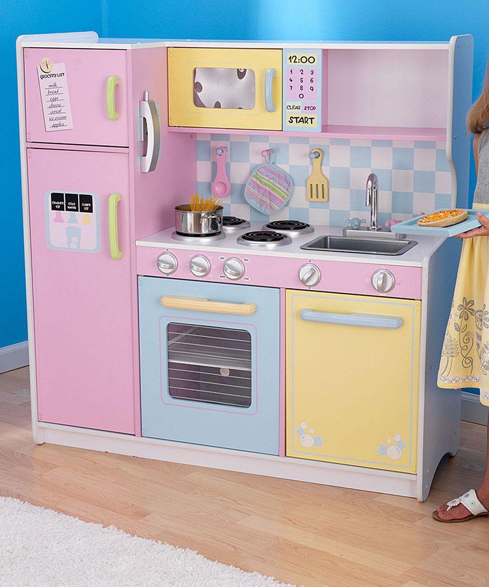 kidkraft large kitchen | wooden play kitchen, pastel