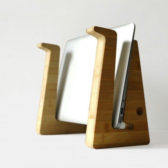 support et rangement pour ordinateur portable en bambou pinteres. Black Bedroom Furniture Sets. Home Design Ideas