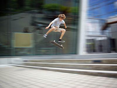 Blur Effect Background Drop In Skate Board Sports Kids Skateboarding Skateboard