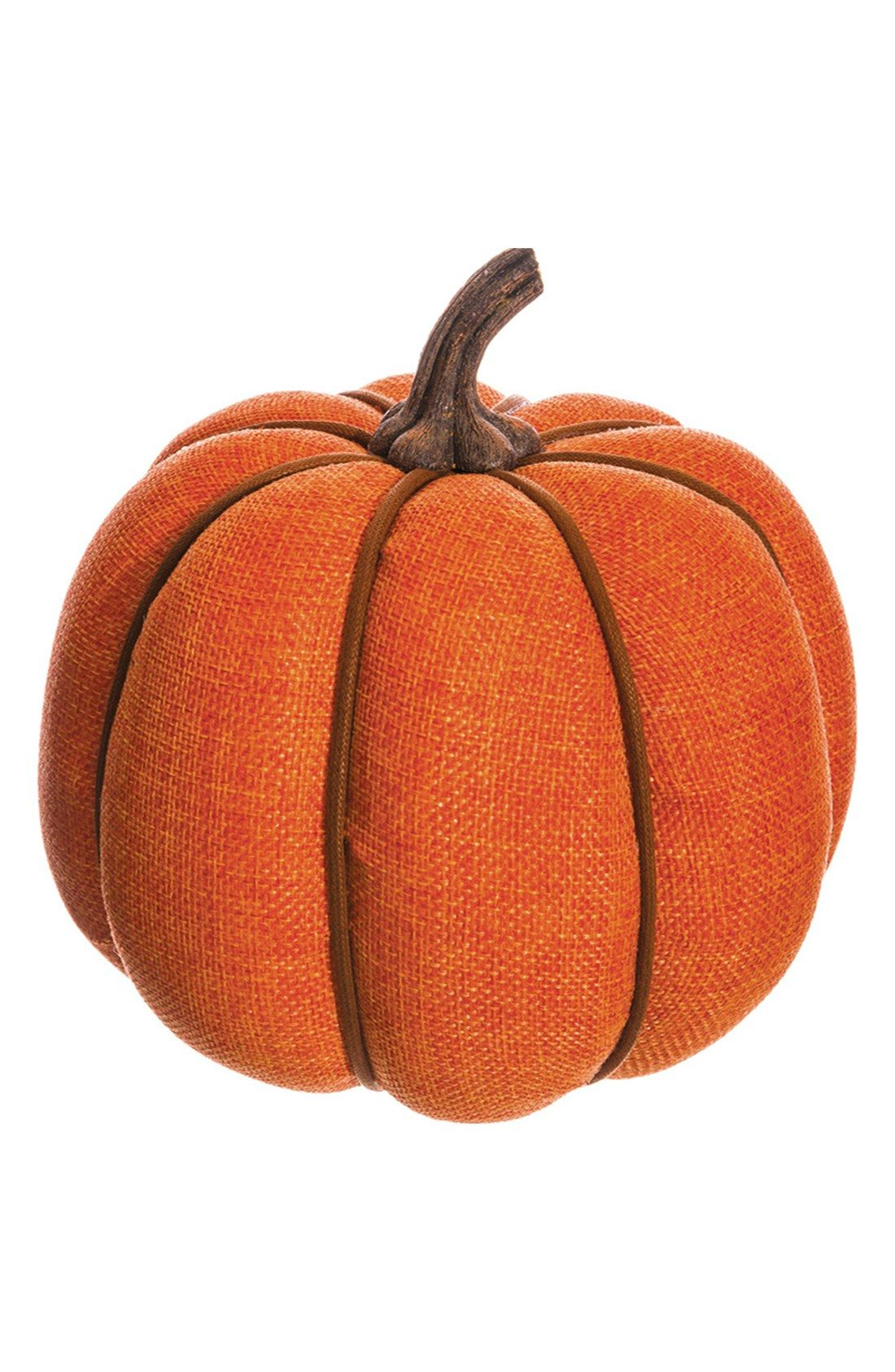 This burlap-wrapped pumpkin lends a touch of rustic charm to the seasonal décor.