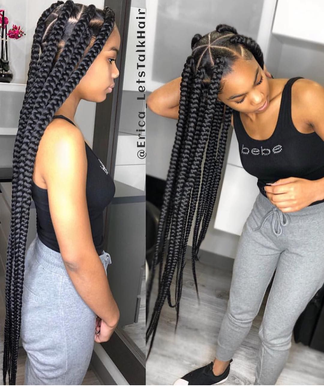 Voiceofhair Stylists Styles On Instagram Extra Long Triangle Box Braids By Erica Letstalkhair Braided Hairstyles Hair Styles Big Box Braids Hairstyles
