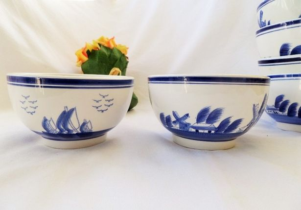 Blue & White Holland Large Cafe Au Lait Bowls With Handpainted Windmill - Two (2) Pieces by pentyofamelie on Gourmly