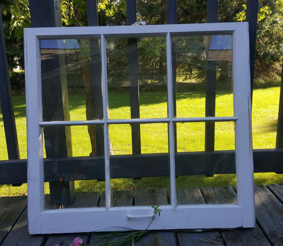 Wooden Window Frame Crafts Vintage Wood Window 6 Six Pane French Country Modern Farmhouse
