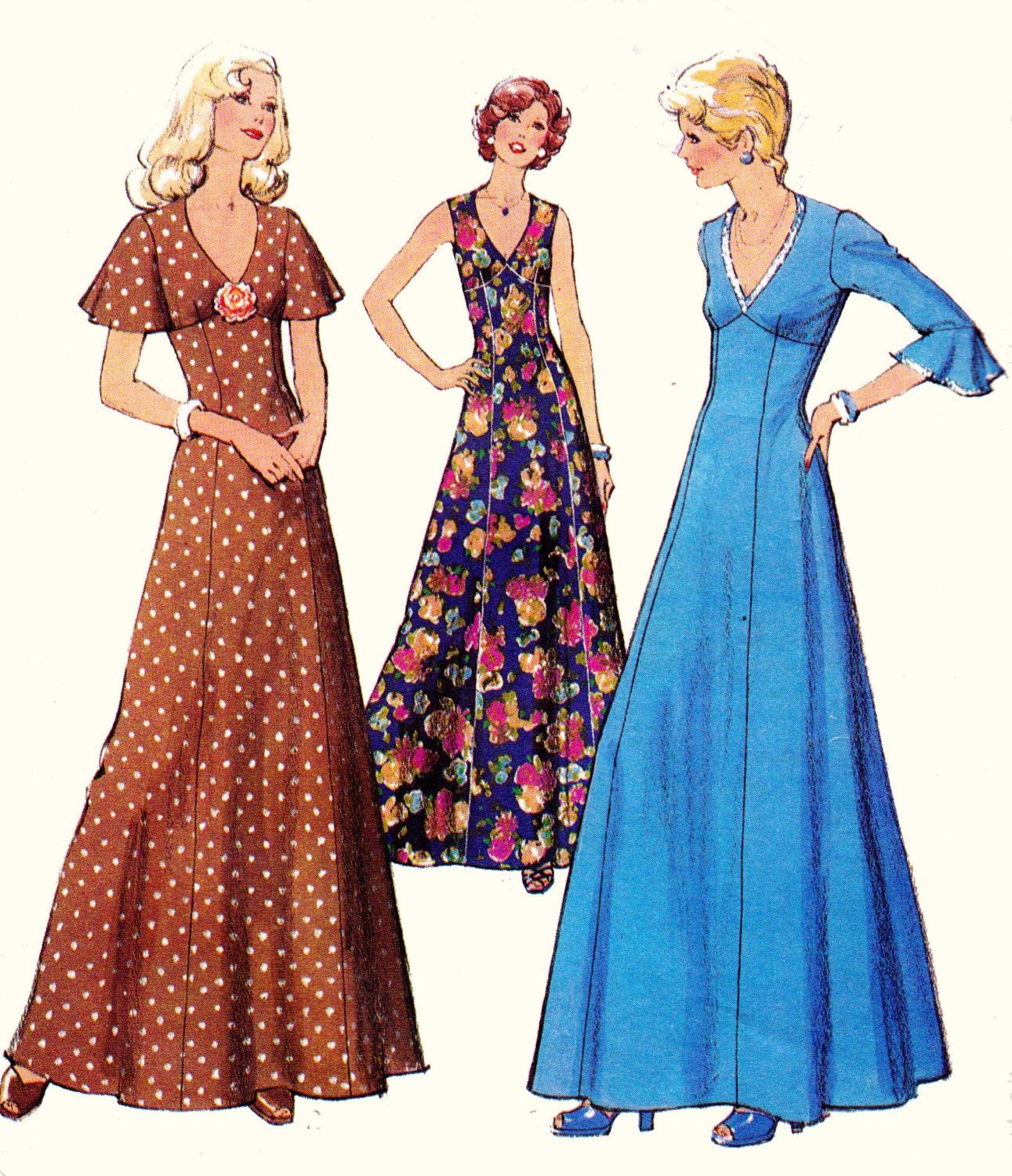 70s Boho Maxi Dress Pattern with capelet or flutter sleeves Style ...