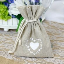 Large Heart Printed Hessian Favour Bag