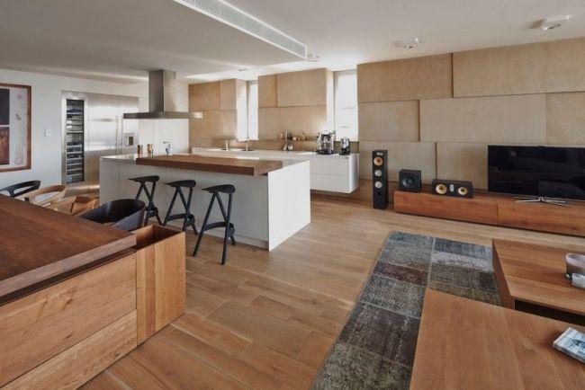 Nuancen von Braun und Grau prägen eine moderne Wohnung in