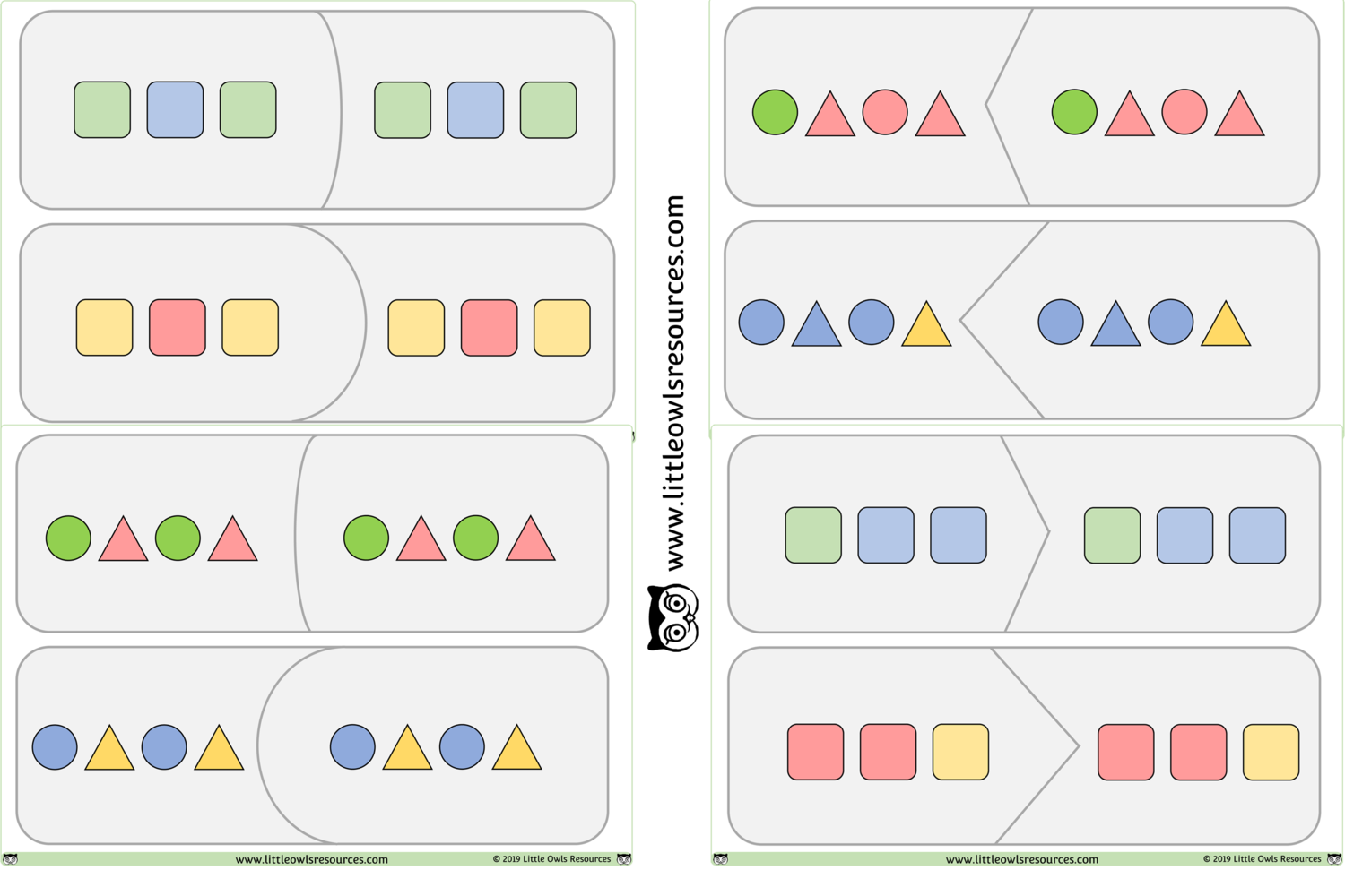 Free Pattern Match Game Printable Early Years Ey Eyfs