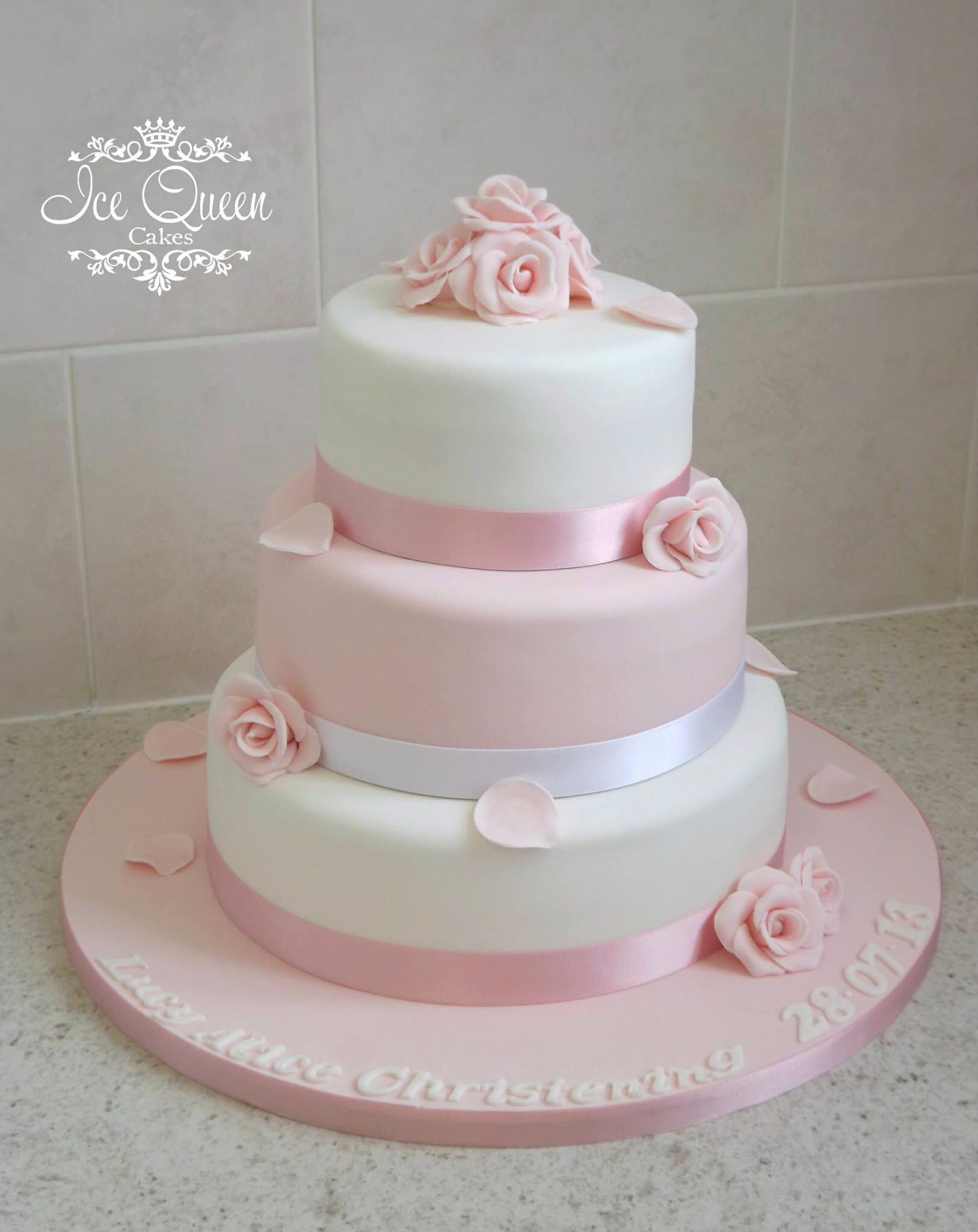 top tier wedding cake for christening 3 tier pink amp white christening cake with roses 21075