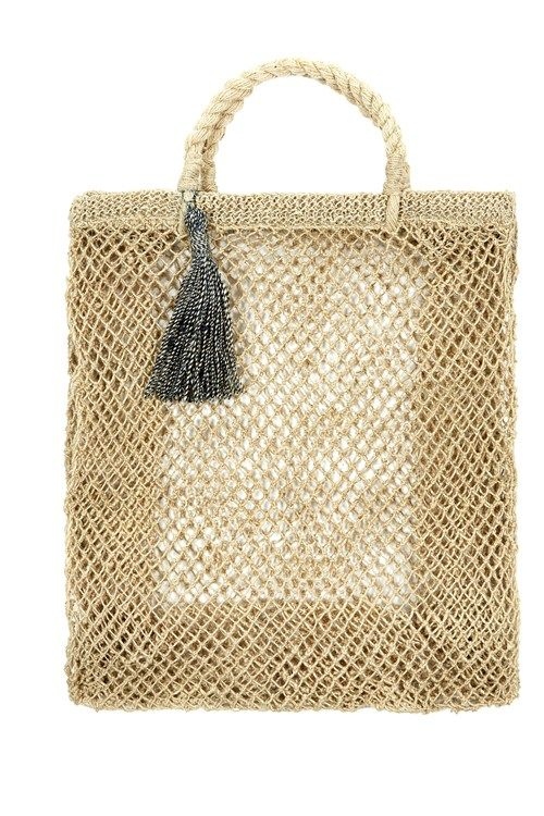 Hand made collapsible hemp shopping bag with rope handles and ...