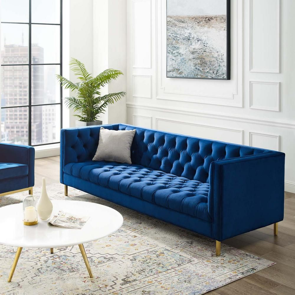 Modway Delight Navy Tufted Button Performance Velvet Sofa Eei 3455