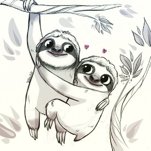 sloths love i know sloths are loners pssss sketch