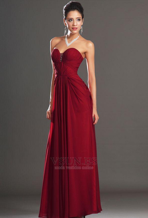d77a7e3648 Vestido de noche Rojo Oscuro Sin tirantes Para Imperio Natural Cremallera