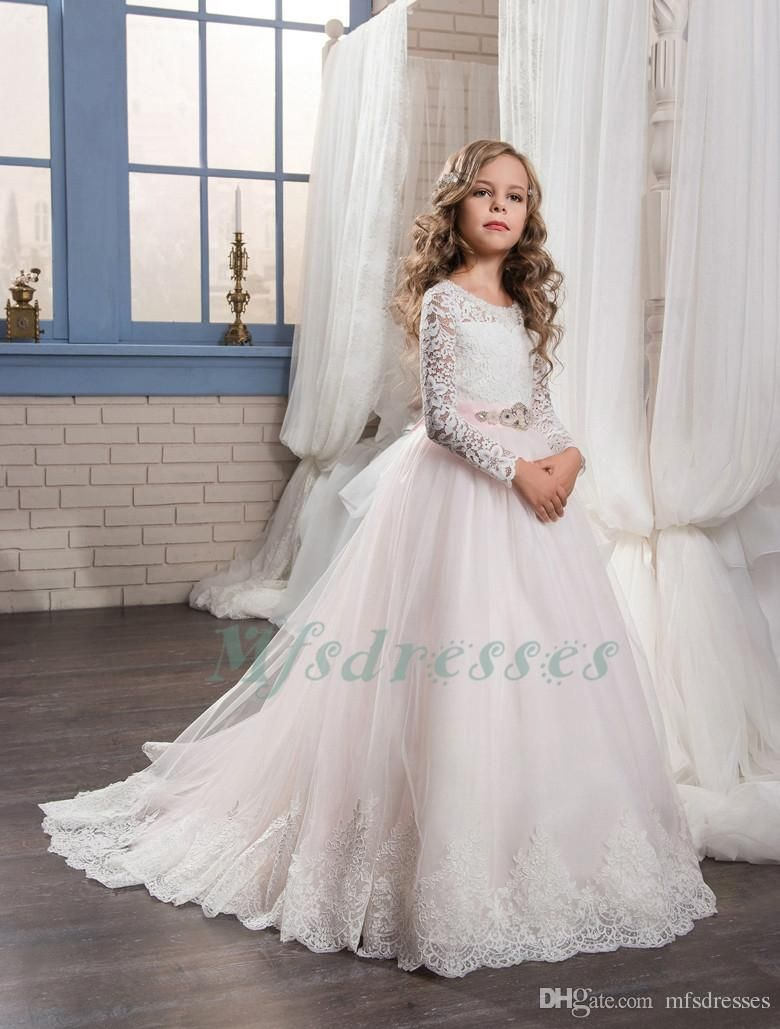 e620ee11d New Long Sleeve White Lace Top Pink Flower Girl Dresses Pink Sash Girl First  Communion Dress