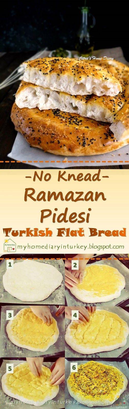 No knead Ramazan Pidesi / Turkish Pide bread (flat bread ...