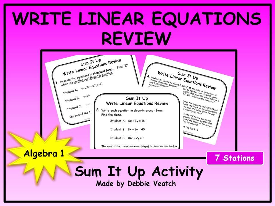 A Free Activity To Review Writing Linear Equations Into Point Slope