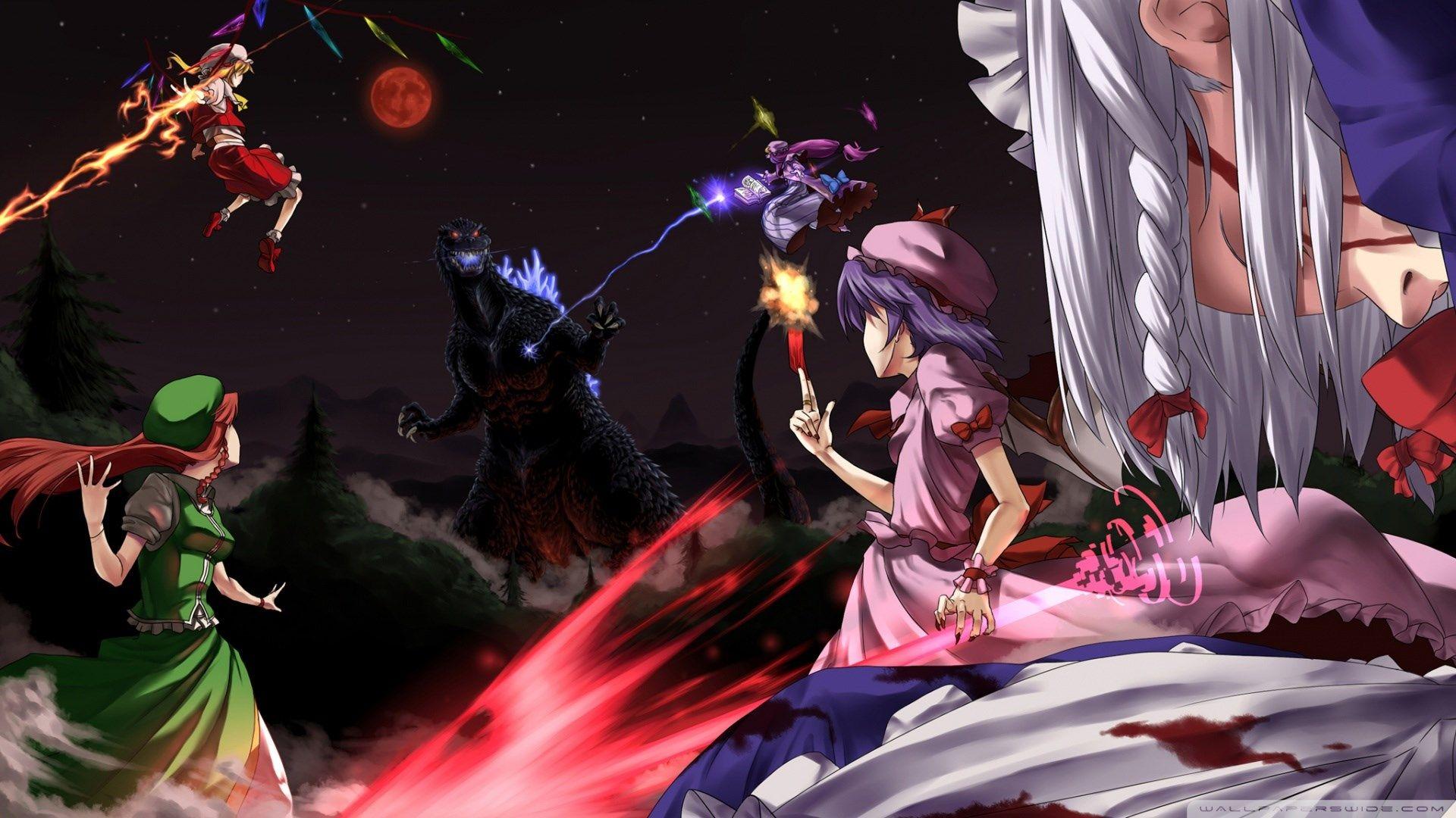 touhou hd Anime, Godzilla, Wallpaper