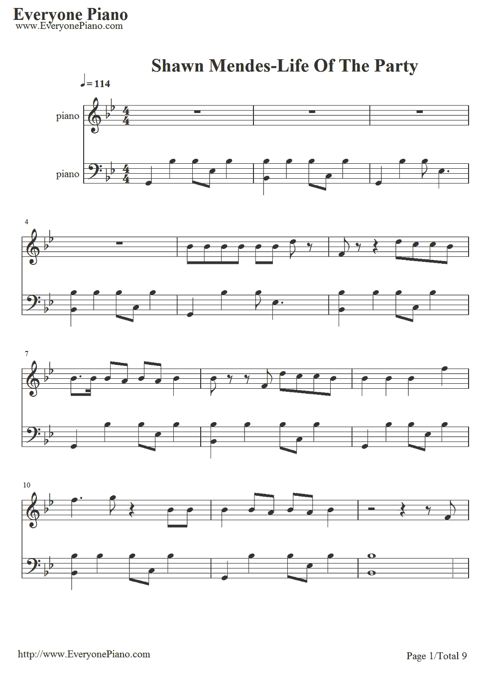 free life of the party shawn mendes sheet music preview 1