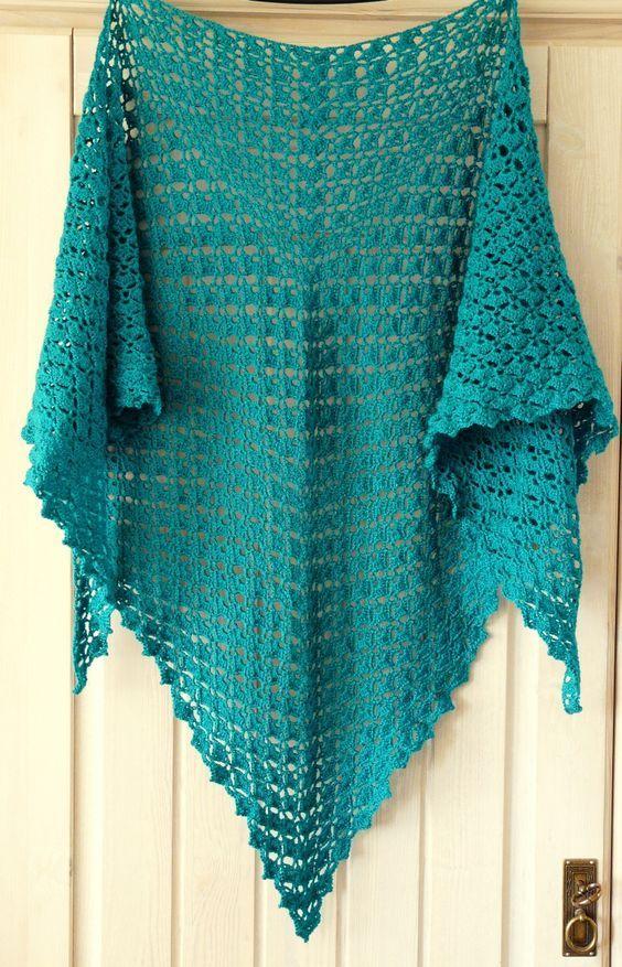 Schultertuch, gehäkelt | shawls ⛛ | Pinterest | Schultertuch häkeln ...