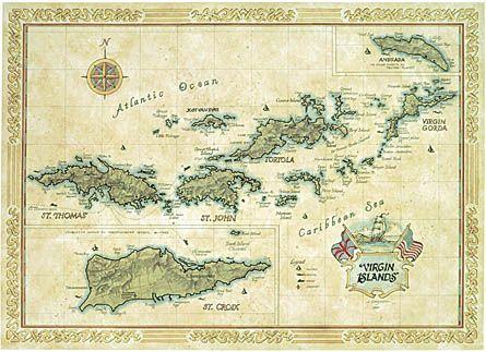 british virgin islands map or chart amalie on st thomas the