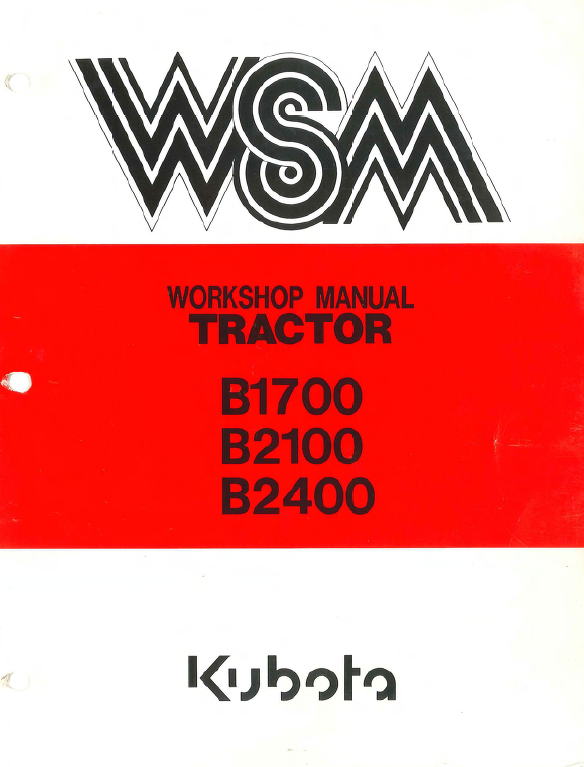Kubota B1700 B2100 B2400 Tractor Workshop Service Manual Repair Manuals Tractors Kubota