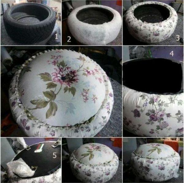 kissen sitzen DIY Möbel aus Autoreifen vintage stoffe UPCYCLING - alte autoreifen deko