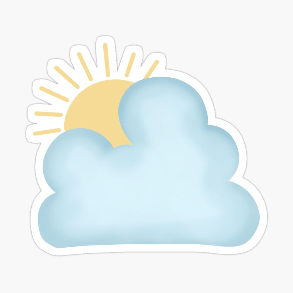 Sun and cloud Sticker by tsong20 in 20   Cloud stickers, Cloud ...