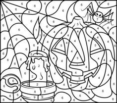Hard Color By Number Pages Halloween Candle Printable Color By Number Page Hard Halloween Coloring Pages Preschool Coloring Pages Coloring Pages