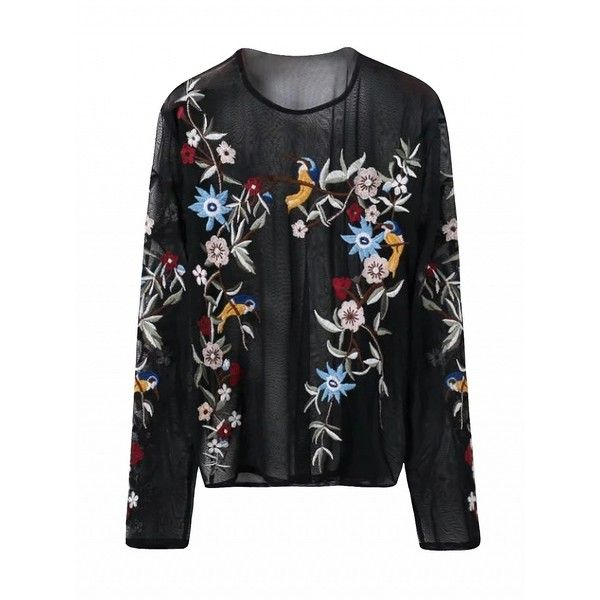 Designer Embroidered Sheer Long Sleeve Womens Top