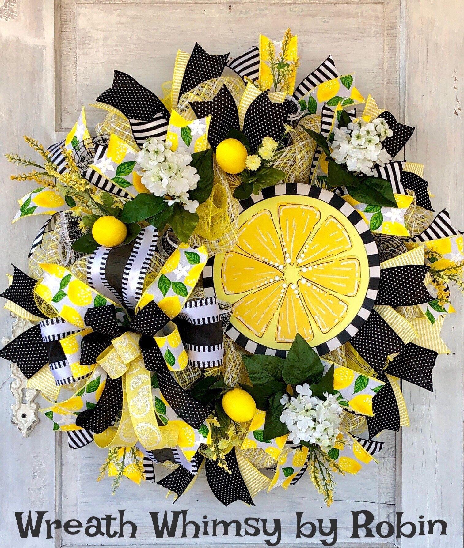 Deco Mesh Lemon Wreath Spring Wreath Summer Wreath Lemon Decor Door Wreath Kitchen Decor