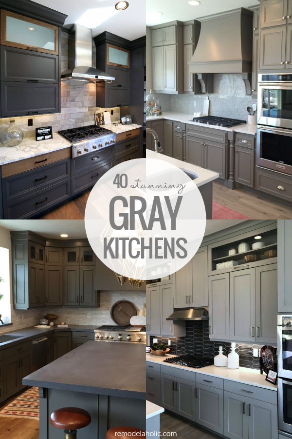 Remodelaholic | 40 Beautiful Kitchens with Gray Kitchen Cabinets
