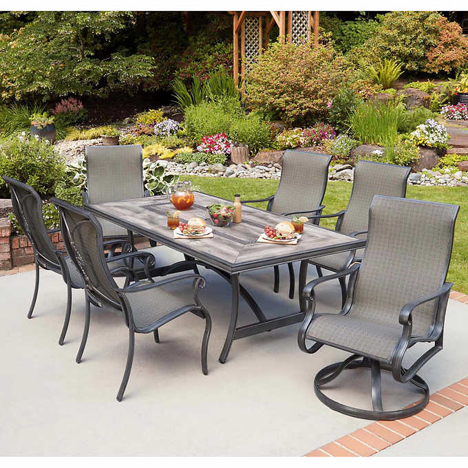 Campbell 7 Piece Sling Dining Set, Costco Patio Furniture Dining Sets